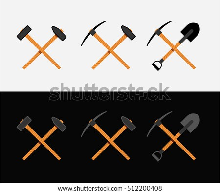 Crossed hammer, shovel and pickaxe, symbol of work and labor, miner, vector illustration on white and black background