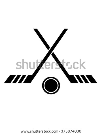Crossed Hockey Stick and Puck Icon - stock vector