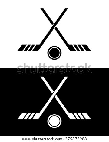 Crossed Hockey Stick and Puck Icon Set in Black and Reverse - stock vector