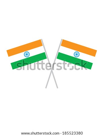 Crossed India Flags - Vector - stock vector