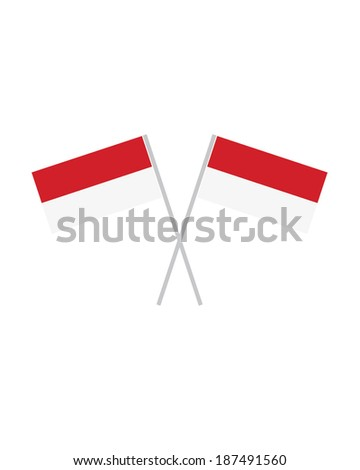 Crossed Indonesia Flags - Vector - stock vector
