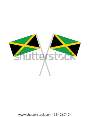 Crossed Jamaican Flags - Vector - stock vector