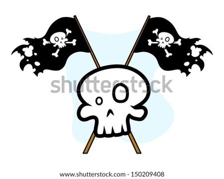 Crossed Jolly Roger Flag with Skull - Vector Cartoon Illustration - stock vector
