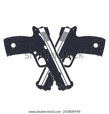 Crossed Revolvers Drawing