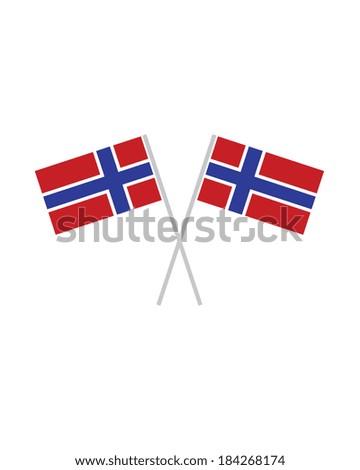 Crossed Norway Flags - Vector - stock vector