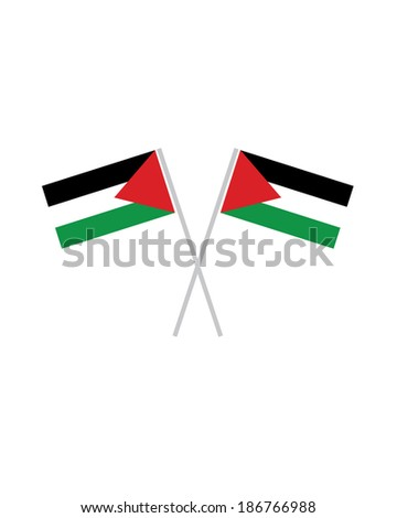 Crossed Palestine Flags - Vector - stock vector