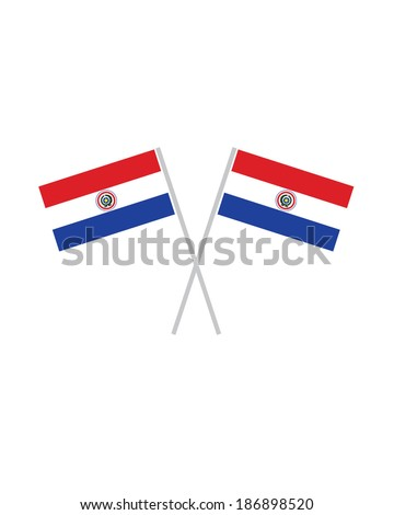 Crossed Paraguay Flags - Vector - stock vector