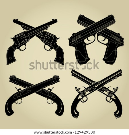 Crossed Pistols Evolution Silhouettes - stock vector