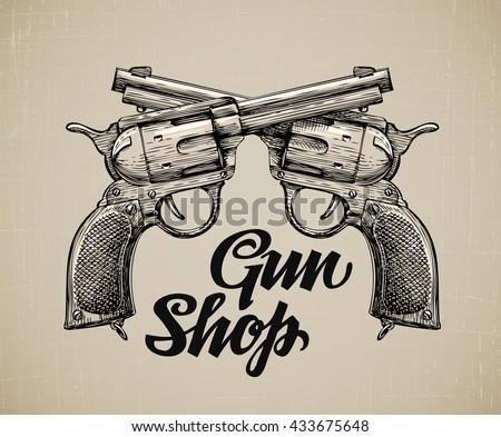 Crossed Pistols. Hand drawn sketch Gun. Vintage firearms. Self defense. Mafia or bandit. Vector illustration - stock vector