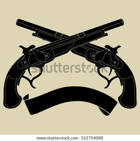 Crossed pistols with ribbon silhouette - stock vector