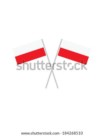 Crossed Poland Flags - Vector - stock vector