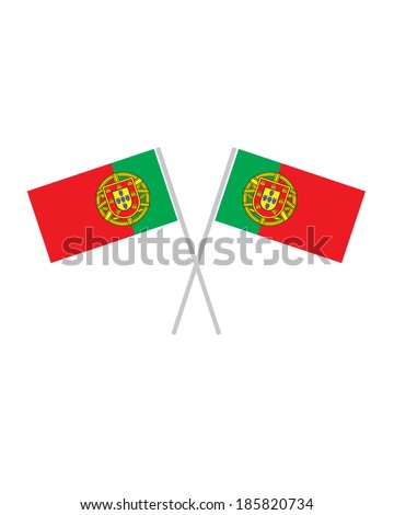 Crossed Portugal Flags - Vector - stock vector