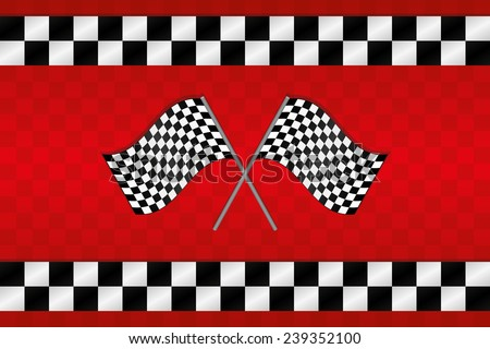 Crossed Racing Checkered Flags Background - stock vector