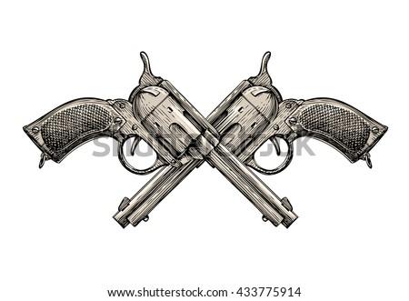 Crossed Revolvers. Vintage guns hand-drawn. Gun shop. Whodunit. Sketch Gun, firearms vector illustration - stock vector
