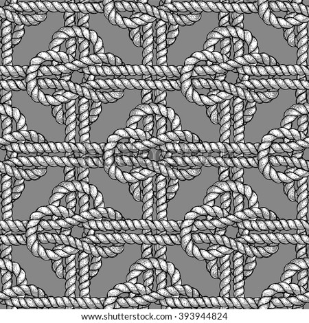 Crossed sailor knot in engraving style, vector seamless pattern - stock vector