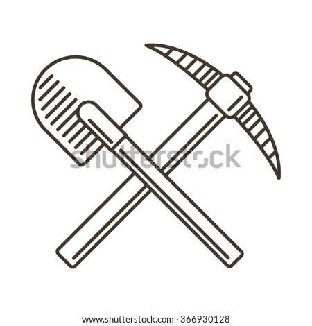 Crossed shovel and pickaxe line icon. Vector emblem in vintage style.  - stock vector