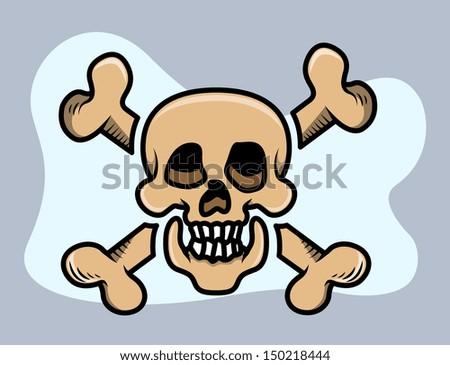 Crossed Skull - Vector Cartoon Illustration - stock vector