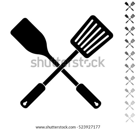 Crossed spatula and slotted kitchen spoon - black vector icon and ten icons in  shades of grey