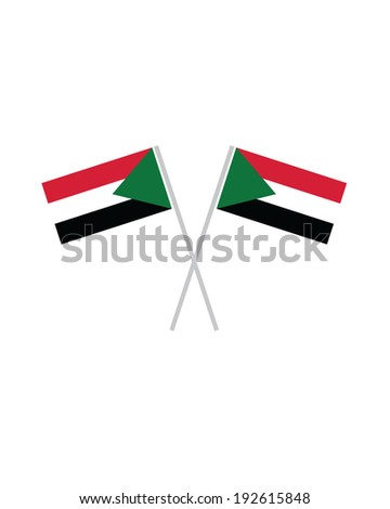 Crossed Sudan Flags - Vector - stock vector