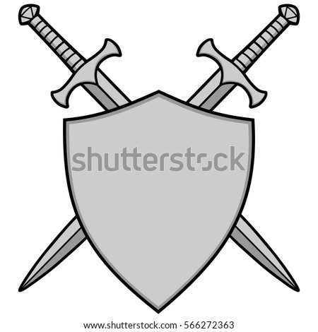 crossed swords shield illustration stock vector 566272363