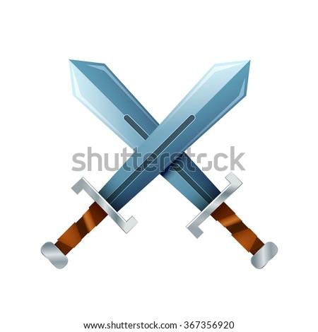 Crossed swords, cartoon icon isolated on white - stock vector