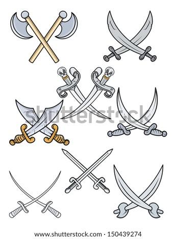 Crossed Swords - Cartoon Vector Illustration - stock vector