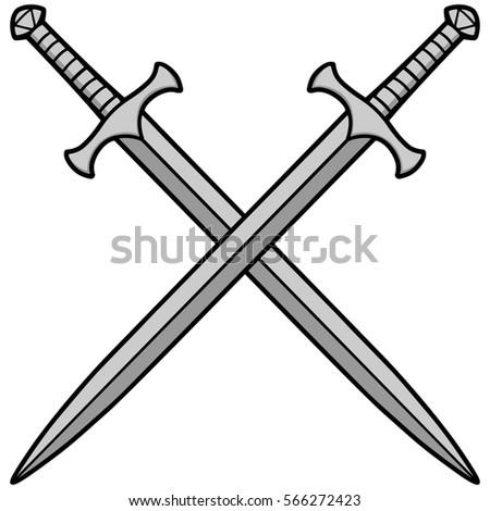 Crossed Swords Illustration Stock Vector 566272423 ...
