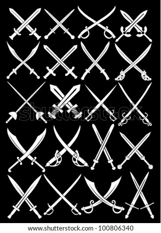 Crossed Swords Vectors Collection in Black Background - stock vector