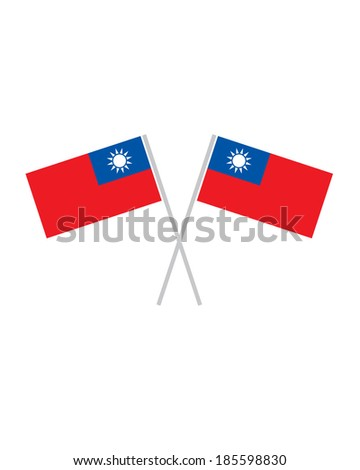 Crossed Taiwan Flags - Vector - stock vector