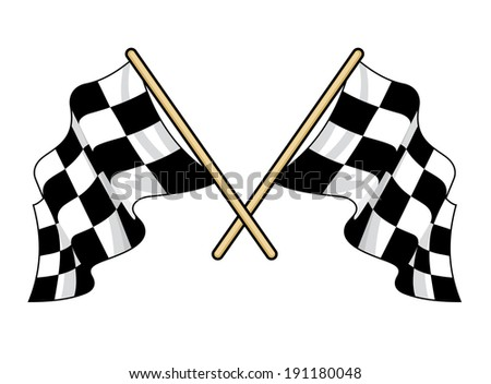 Crossed waving motor sport flags logo with the traditional black and white pattern fluttering in the breeze, vector illustration isolated on white - stock vector