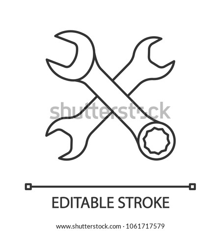Crossed Wrenches Linear Icon Thin Line Stock Vector 1061717579
