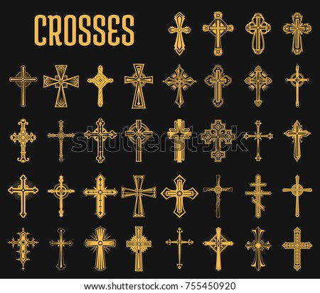 Crosses Christian Religion Set Isolated Orthodoxy Stock Vector