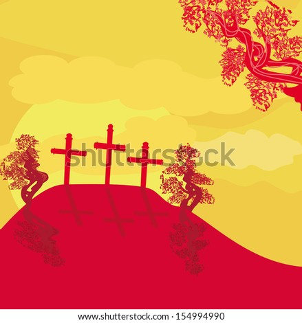 crosses on a hill at sunset vector background concept landscape  - stock vector