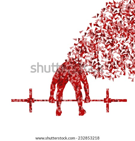 Crossfit man weightlifting vector background concept - stock vector