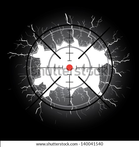 Crosshair after shooting, hole throught broken glass - stock vector