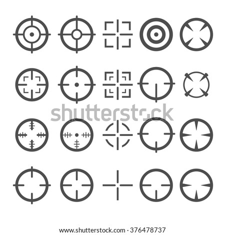 Crosshair Icon Set. Target Mouse Cursor Pointers. Vector.