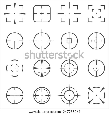 Crosshair icons set for computer games shooters or original mouse cursors  pointers for computer programs.  Sixteen vector target aim symbols. Circles and rounded squares buttons. - stock vector