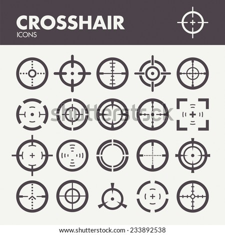 Crosshair. Icons set in vector - stock vector