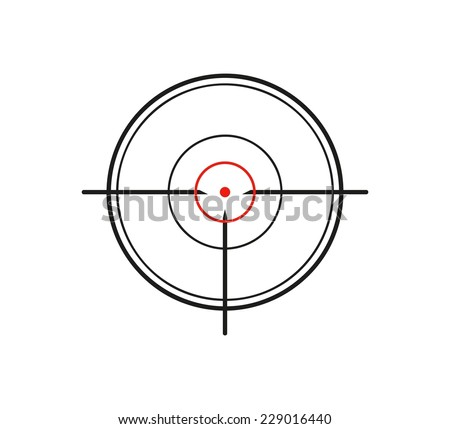 crosshair of the gun on white background, vector - stock vector
