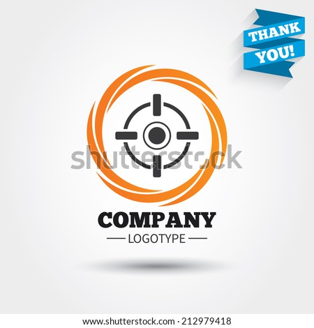Crosshair sign icon. Target aim symbol. Business abstract circle logo. Logotype with Thank you ribbon. Vector - stock vector