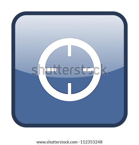 Crosshair sign on blue button (Current Location Sign) - stock vector