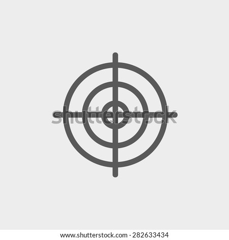 Crosshair target icon thin line for web and mobile, modern minimalistic flat design. Vector dark grey icon on light grey background. - stock vector