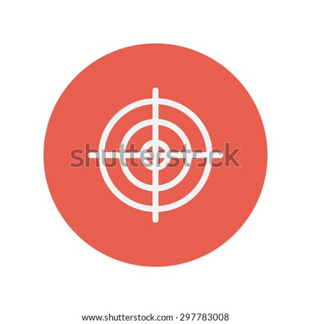 Crosshair target thin line icon for web and mobile minimalistic flat design. Vector white icon inside the red circle. - stock vector