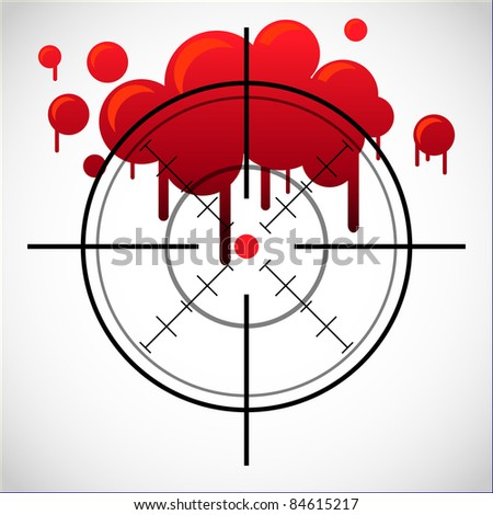 crosshair with red dot and blood spot - illustration - stock vector