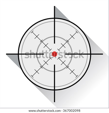 crosshair with red dot in a flat design