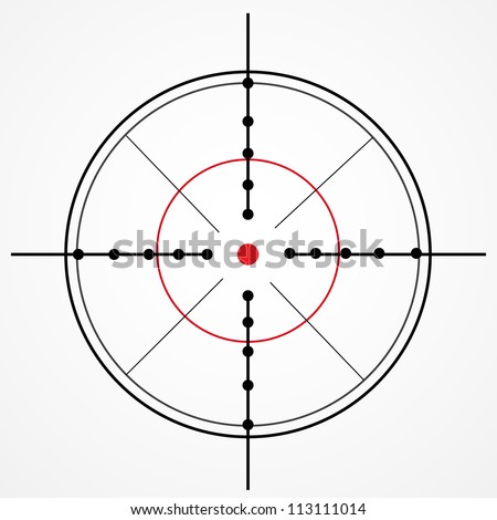 Crosshair with red dot on white - stock vector