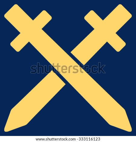 Crossing Swords vector icon. Style is flat symbol, yellow color, rounded angles, blue background.