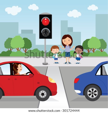 Crossing the road. Red light. Teacher and school kids stop and waiting to cross the road. - stock vector
