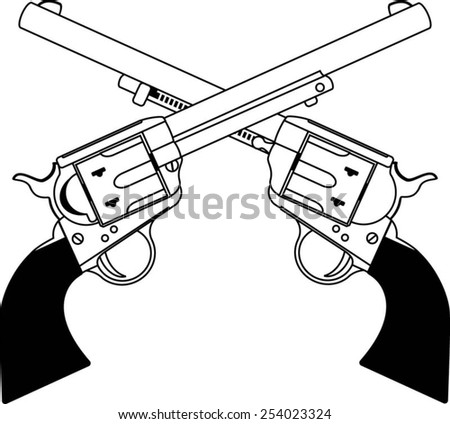 crossing wild west revolvers - stock vector