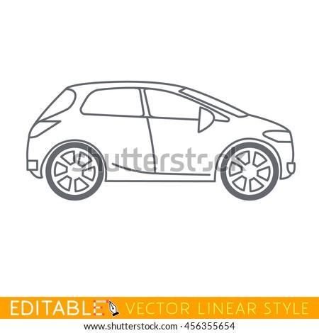 Crossover car. Editable vector icon in linear style. - stock vector
